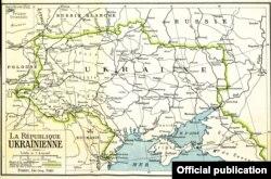 Мапа, выдадзеная ў Парыжы ў 1919 годзе.