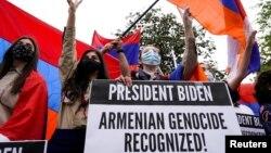 Демонстрация представителей армянской диаспоры в США после решения, принятого Джо Байденом