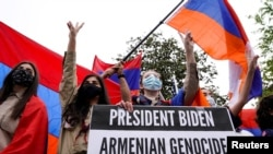 U.S. - Members of the Armenian diaspora rally in front of the Turkish Embassy in Washington after U.S. President Joe Biden recognized that the 1915 massacres of Armenians in the Ottoman Empire constituted genocide, April 24, 2021.