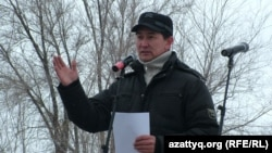 Lukpan Akhmedyarov speaks at a protest rally in Oral last month.