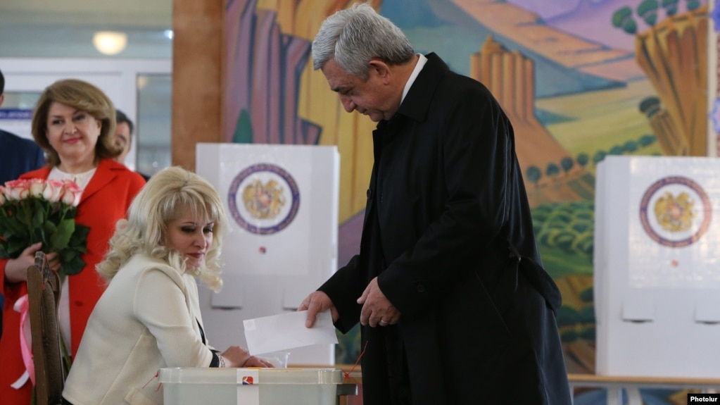 President Serzh Sarkisian casts his ballot at a polling station in Yerevan on April 2.