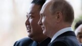 RUSSIA -- Russian President Vladimir Putin welcomes North Korean leader Kim Jong Un prior to their talks at the Far Eastern Federal University campus on Russky island in Vladivostok, April 25, 2019
