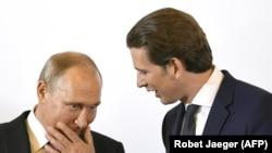 Владимир Путин и Себастьян Курц на переговорах в Вене, 5 июня 2018 года