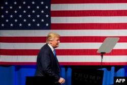 Republican presidential nominee Donald Trump speaks at a rally at Lackawanna College in Scranton, Pennsylvania, on November 7.