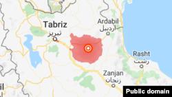 На карте - район в Иране, где произошло землетрясение магнитудой 5,9.
