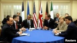Западные лидеры и президент Украины Петр Порошенко. Ньюпорт, Уэльс, 4 сентября 2014 года