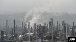 View of the Concon refinery, of Chile's state oil company Enap, in the Chilean Valparaiso Region, taken on September 7, 2018. - Chile's Environment Superintendent announced on Wednesday that it will take legal action against Enap, which it blames for havi