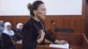 Айгүл Ақбердиева сотта соңғы сөзін айтып жатқан сәт. Ақтау қаласы, 4 ақпан 2019 жыл.