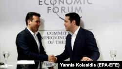 Kryeministri i Maqedonisë, Zoran Zaev dhe homologu i tij grek, Alexis Tsipras