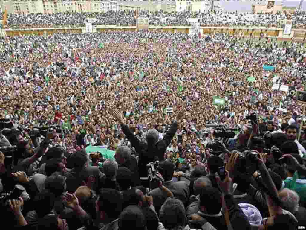 Musavi rallies drew tens of thousands to sports stadiums in major cities.
