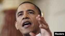Президент США Барак Обама во время речи о ситуации на Ближнем Востоке и в Северной Африке