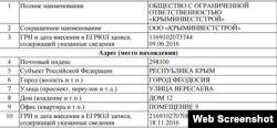 Дані про реєстрацію інвестора ялтинського форуму – ТОВ «Кримінвестбуд»
