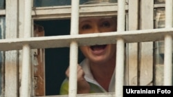 European leaders and international rights groups have condemned the cases against former Ukrainian Prime Minister Yulia Tymoshenko -- seen here through the window of her Kyiv prison on November 4 -- as politically motivated and urged her release.