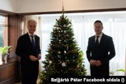 Geert Wilders, a hollandiai Szabadságpárt vezetője és Szijjártó Péter magyar külügyminiszter Hágában 2020. december 10-én.