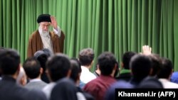 Iran's Supreme Leader Ayatollah Ali Khamenei meets with Iranian students in the capital Tehran, October 18, 2017