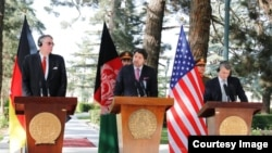 Michael Koch Germany Special Representative for Afghanistan and Pakistan, Hekmat Khalil Karzai (C) Deputy Afghan Foreign minister in Political Affairs and Daniel F. Feldman U.S. Special Representative for Afghanistan and Pakistan.
