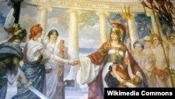Britannia Pacifatrix, slika britanskog slikara Sigismunda Goetzea koja je nastala nakon Prvog svjetskog rata i koja je izložena u Foreign Office-u, prikazuje Veliku Britaniju koja se rukuje sa Sjedinjenim Državama dok štiti Srbiju, Crnu Goru i Belgiju