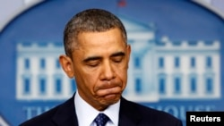 Президент США Барак Обама выступает в Белом доме по поводу секвестра госбюджета. Вашингтон, 1 марта 2013 года.