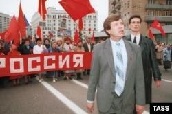 Виктор Анпилов на первомайской демонстрации в Москве, 1996 год