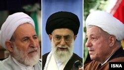 -از راست- اکبر هاشمی رفسنجانی، علی خامنهای و محمد یزدی