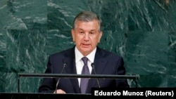 "Uzbek President Shavkat Mirziyoev spoke of building ""a democratic state and a just society"" at the United Nations last month."