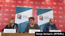 Gordana Novaković, Tamara Skrozza i Petar Jeremić na predstavljanju izveštaja Saveta za štampu