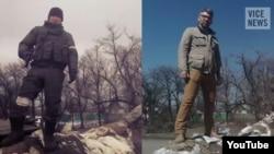 Ліворуч: фотографія російського військового Бато Дамбаєва, яку він виклав на власну сторінку «ВКонтакте» у лютому 2015 року (період боїв за Дебальцеве). Праворуч: фотографія журналіста Vice News Саймона Островського. Обидві фотографії зроблені на блокпосту у Вуглегірську, що неподалік Дебальцева