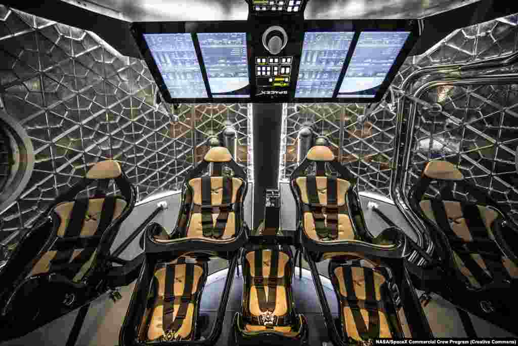 "The interior of the Crew Dragon capsule, which can seat up to seven astronauts. In 2008, SpaceX founder Elon Musk said, ""Dragon was actually named after [the 1960s song] Puff The Magic Dragon because so many people thought I must be smoking weed to do this venture."" Some believe the song's lyrics hint at drug use."