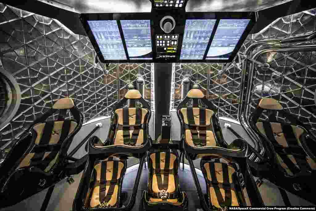 Внутрішня частина капсули Crew Dragon, яка може вмістити до семи астронавтів. У 2008 році засновник SpaceX Елон Маск сказав: «Насправді Dragon назвали на честь [пісні 1960-х] Puff The Magic Dragon, тому що багато хто думав, що я повинен був курити травку, щоб зайнятися цією справою». Деякі вважають, що текст пісні натякає на вживання наркотиків