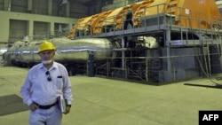 A Russian technician inside Iran's Bushehr nuclear power plant in a 2010 photo