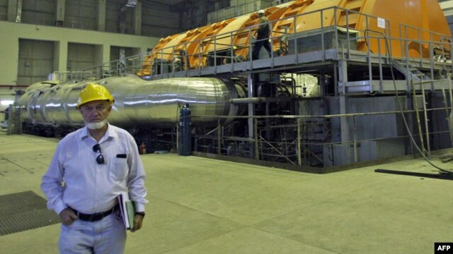 A Russian technician inside Iran's Bushehr nuclear power plant in a 2010 photo
