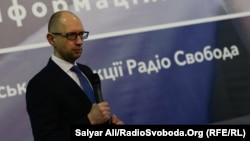 Ukrainian Prime Minister Arseniy Yatsenyuk at the 60th anniversary event for RFE/RL's Ukrainian Service in Kyiv