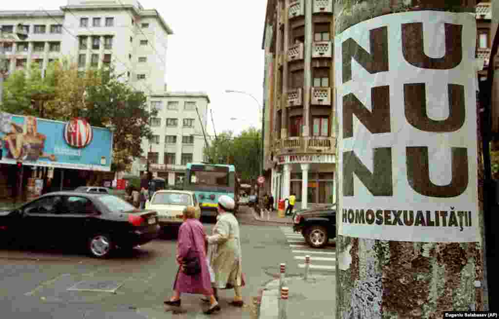"An unknown organization posted hundreds of posters saying ""No, no, no to homosexuality"" in the center of the Romanian capital, Bucharest, on October 13, 2000."