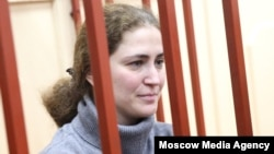 Russian Academic Youth Theater (RAMT) director Sofia Apfelbaum at a court hearing in Moscow on October 27.
