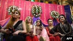 Members of the Pakistani transgender community in Peshawar in January.