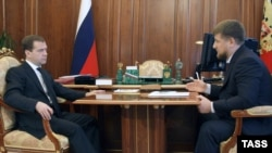 Dmitry Medvedev (left) and Ramzan Kadyrov -- not quite seeing eye to eye?