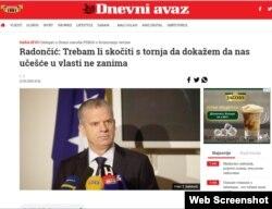 Radončićeva izjava koju je prenio Dnevni avaz
