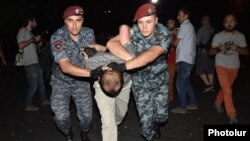 Armenia - Riot police detain a protester on Marshal Bagramian Avenue, Yerevan, 12Sep2015.