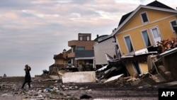 Разрушенные ураганом дома в Куинсе (Нью-Йорк)