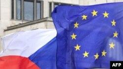 Знамето на Чешка и на Европската Унија
