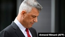 Former Kosovar President Hashim Thaci reacts during a press conference in Pristina on November 5.