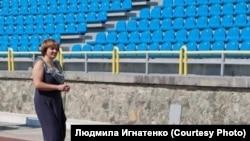 Людмила Игнатенко на стадионе лагеря «Артек» (архив Игнатенко)