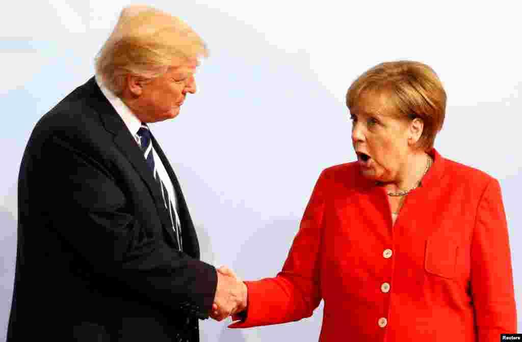 Прэзыдэнт ЗША Дональд Трамп і канцлер Нямеччыны Ангела Мэркель