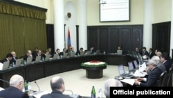Armenia - A weekly session of Prime Minister Tigran Sarkisian's cabinet.