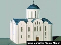 Кирилівська церква. Макет, який показує як виглядав храм у XII столітті