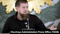 Chechen leader Ramzan Kadyrov chair a meeting in Grozny on May 26