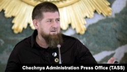 Ramzan Kadyrov chairs a meeting of Chechnya's emergency response committee for the prevention and control of coronavirus disease in Grozny on May 26.