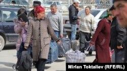 Прохождение таможенного контроля на границе между Казахстаном и Кыргызстаном. 23 марта 2012 года.