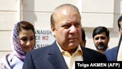 Pakistan's former prime minister, Nawaz Sharif, arrives at his office in central London on July 6.