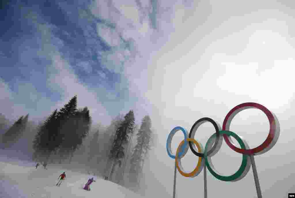 Simon Schempp of Germany trains during heavy fog prior to the biathlon men's 15-kilometer mass-start competition at the Laura Cross-Country Ski & Biathlon Center at the Sochi 2014 Olympic Games on February 17.